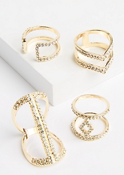 4-Pack Gold Metal & Rhinestone Ring Set