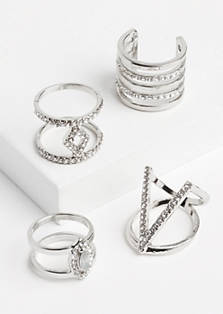 4-Pack Silver Metallic Geo Ring Set