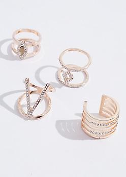 4-Pack V Rhinestone Ring Set