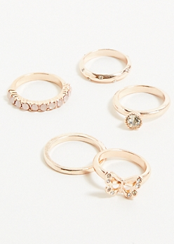 5-Pack Rose Gold Butterfly Ring Set