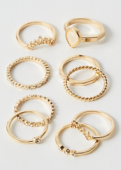 9-Pack Gold Tear Drop Ring Set
