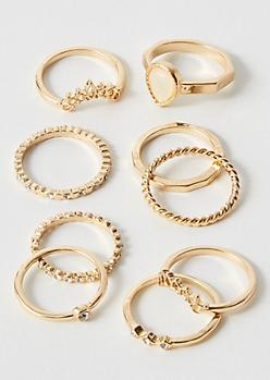 9-Pack Gold Tear Drop Ring Set