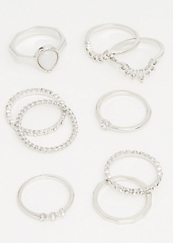 9-Pack Silver Tear Drop Ring Set