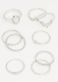 9-Pack Silver Tear Drop Ring Set