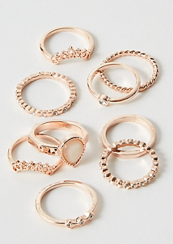 9-Pack Rose Gold Tear Drop Ring Set