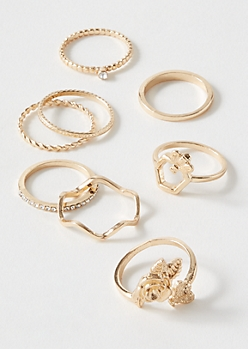 8-Pack Gold Rose Bee Ring Set
