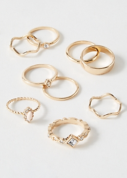 9-Pack Gold Pink Filigree Ring Set