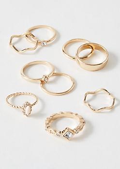 9-Pack Gold Pink Filigree Ring Set