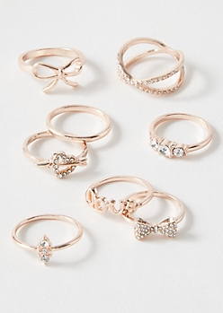 8-Pack Rose Gold Love Crisscross Ring Set
