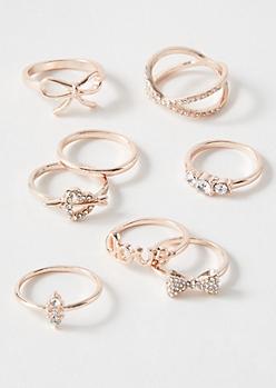 8-Pack Rose Gold Love Crisscross Ring Set
