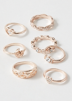 7-Pack Rose Gold Knot Heart Ring Set