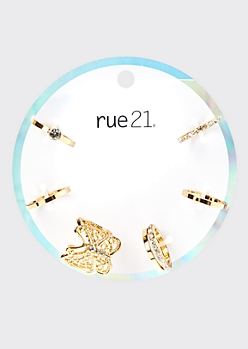 7-Pack Gold Butterfly Rhinestone Stacked Ring Set