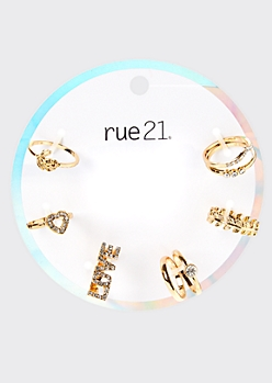 8-Pack Gold Love Rose Stacked Ring Set