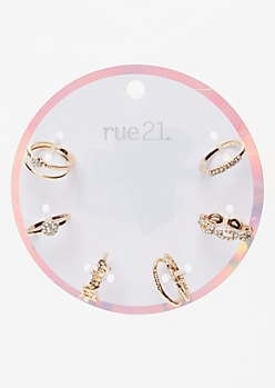 8-Pack Gold Baby Rhinestone Twist Ring Set