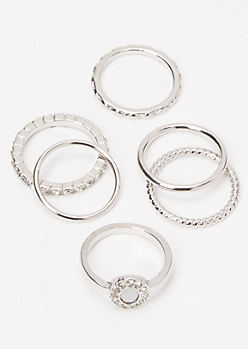 6-Pack Silver Opal Halo Ring Set