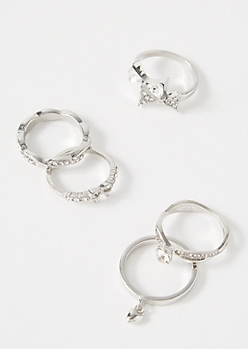 5-Pack Silver Gem Bow Ring Set