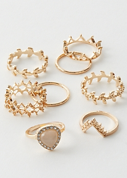7-Pack Gold Leaf Crown Ring Set