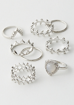 7-Pack Silver Leaf Crown Ring Set