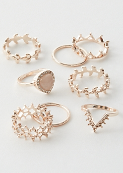 7-Pack Rose Gold Leaf Crown Ring Set