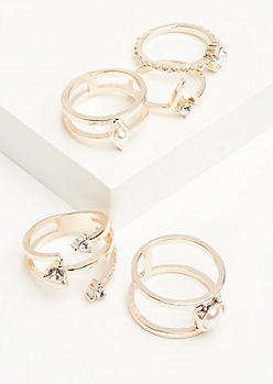 5-Pack Rose Gold Boho Pearl Stacking Ring Set