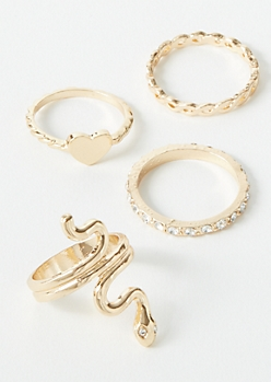 5-Pack Gold Snake Ring Set
