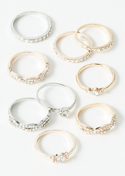 9-Pack Mixed Metal Stone Ring Set
