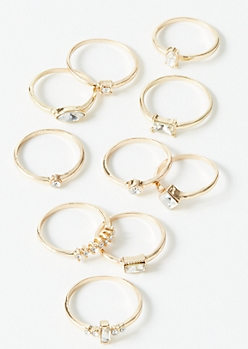 10-Pack Gold Stone Ring Set