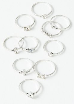 10-Pack Silver Stone Ring Set