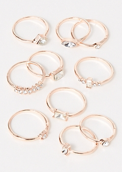 10-Pack Rose Gold Stone Ring Set