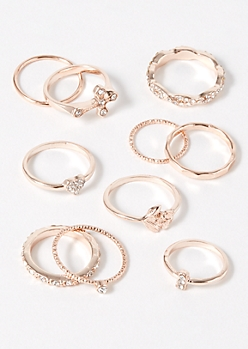 10-Pack Rose Gold Rose Cross Ring Set