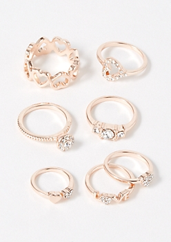 7-Pack Rose Gold Bling Love Ring Set