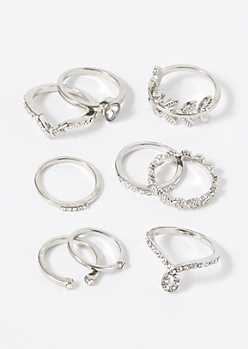 9-Pack Silver Teardrop Loop Ring Set