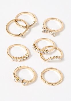 8-Pack Gold Star Bow Ring Set