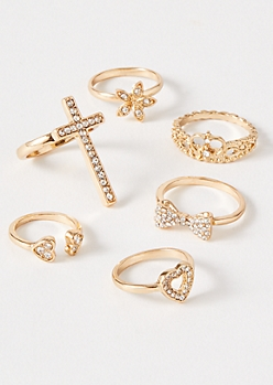 6-Pack Gold Cross Tiara Ring Set