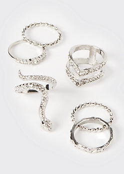 6-Pack Silver Snake Ring Set