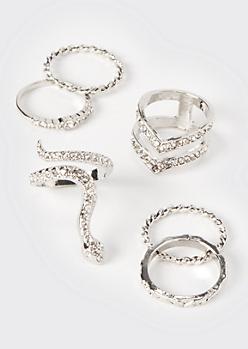 6-Pack Silver Snake Ring Set