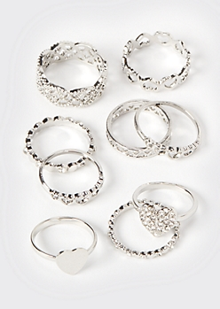 9-Pack Silver Filigree Stacking Rings