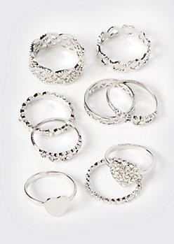 9-Pack Silver Filigree Stacking Rings