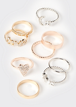 9-Pack Mixed Metal Celestial Gem Stacking Rings