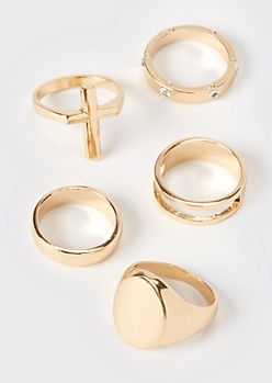 5-Pack Gold Signet Ring Set