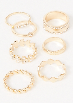 7-Pack Gold Twist Vine Ring Set