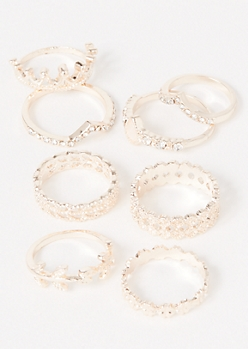 8-Pack Rose Gold Crown Vine Ring Set