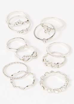 11-Pack Silver Butterfly Love Ring Set