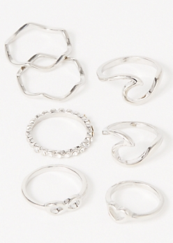 7-Pack Silver Double Wave Infinity Ring Set