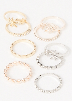 9-Pack Mixed Metal Weed Leaf Ring Set