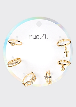 6-Pack Gold Honey Rhinestone Stacked Ring Set