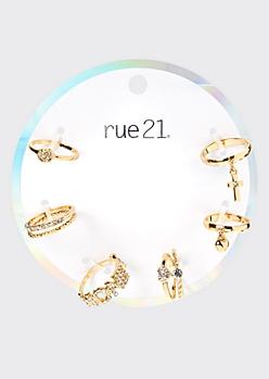 6-Pack Gold Honey Rhinestone Stacked Ring Set