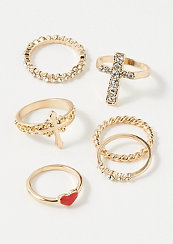 6-Pack Gold Heart Cross Ring Set