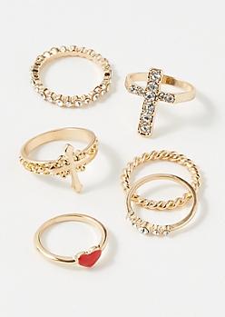 6-Pack Gold Heart Cross Ring Set
