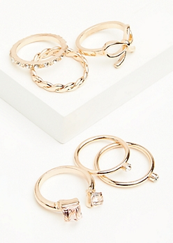 6-Pack Rose Gold Braided Gem Stacking Ring Set